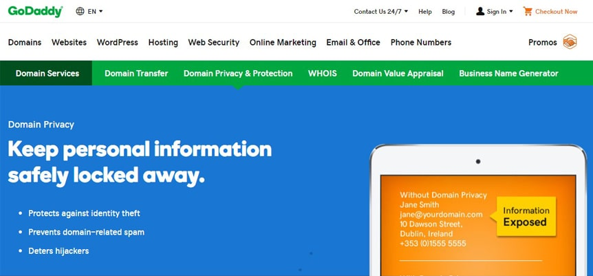 godaddy privacy and protection