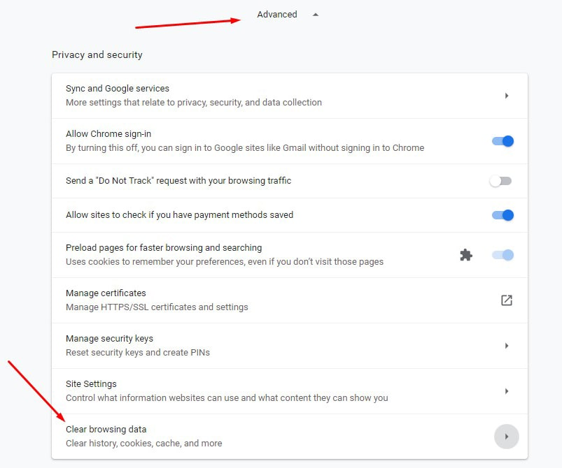 gmail clear browsing data